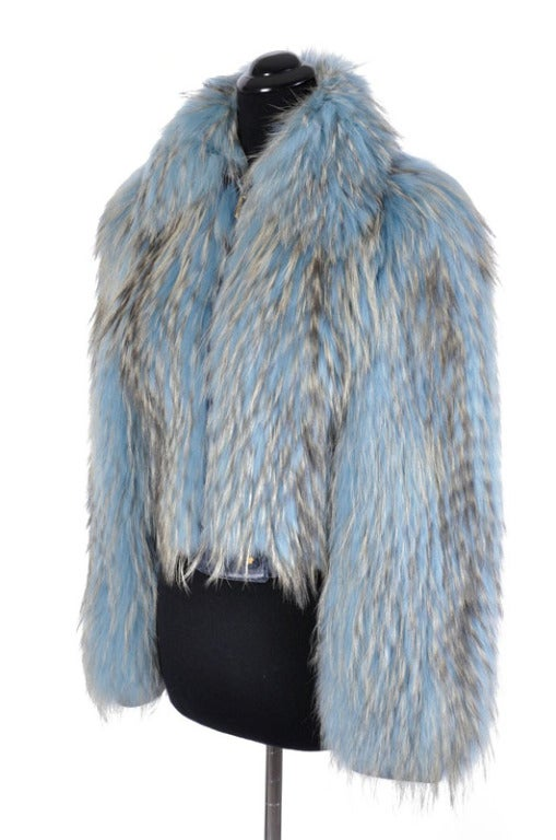 Versace Couture Blue Fox Fur Jacket  *Kim's Fave* 4