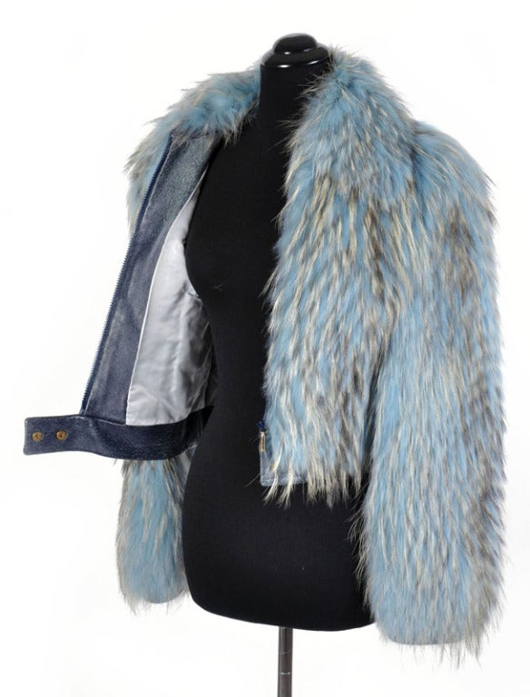 Versace Couture Blue Fox Fur Jacket  *Kim's Fave* 9