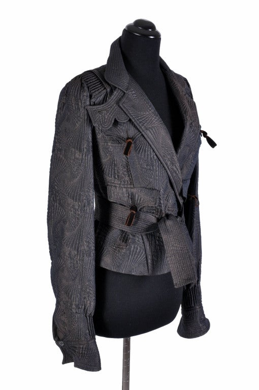 Gorgeous pagoda jacket from Tom Ford's final collection for YSL. Done in iridescent chocolate brown silk/wool blend with velvet bows.   French size 36 - US 4 Made in France.  Excellent condition.  Matching runway boots are listed in our store.