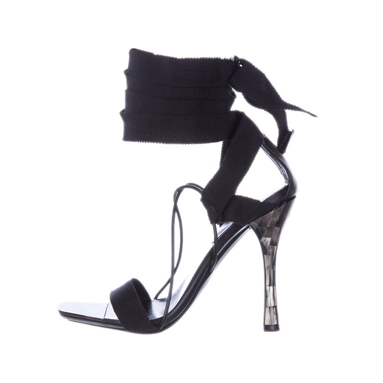 TOM FORD for GUCCI RIBBON and MOTHER-OF-PEARL SANDALS 1
