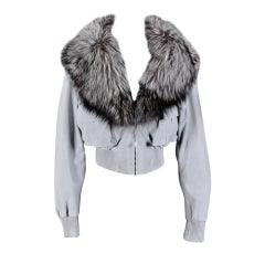 VERSACE BLUE SUEDE LEATHER JACKET WITH FOX FUR COLLAR