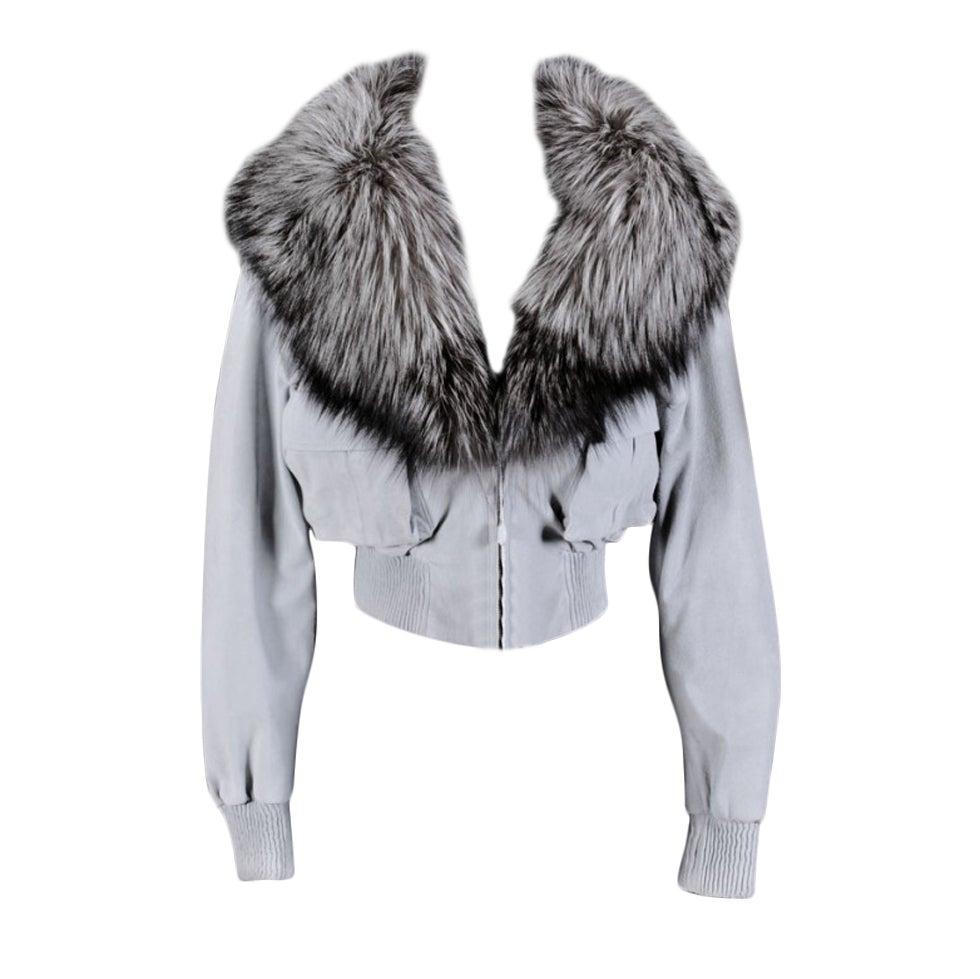 VERSACE BLUE SUEDE LEATHER JACKET WITH FOX FUR COLLAR 1