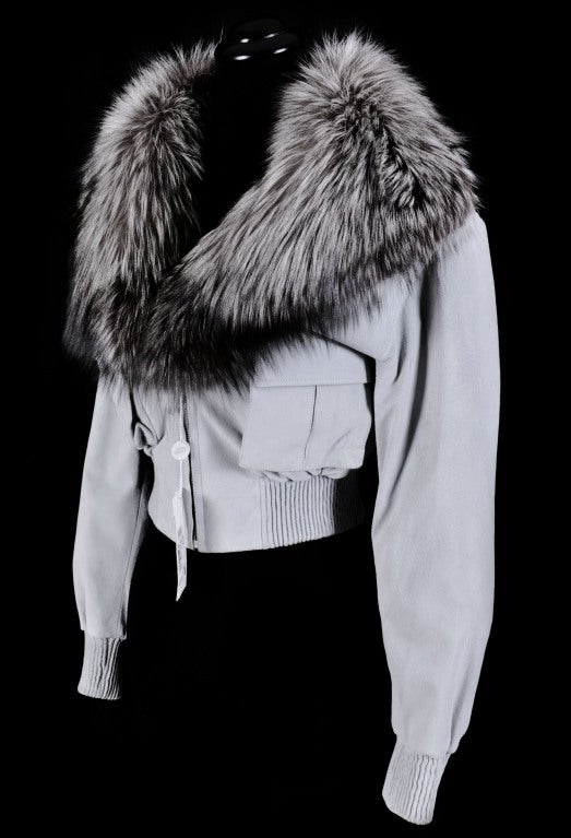 VERSACE BLUE SUEDE LEATHER JACKET WITH FOX FUR COLLAR 2