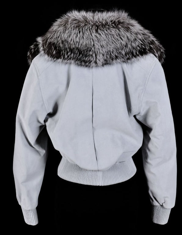 VERSACE BLUE SUEDE LEATHER JACKET WITH FOX FUR COLLAR 3