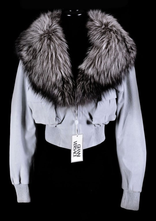VERSACE BLUE SUEDE LEATHER JACKET WITH FOX FUR COLLAR 4