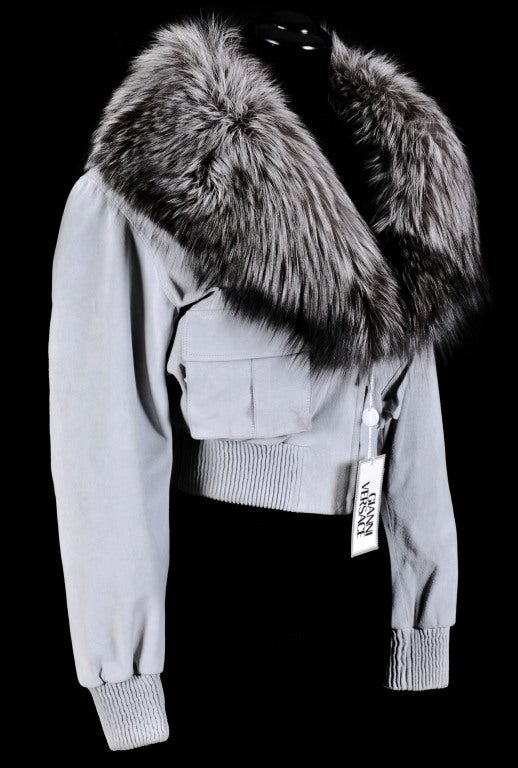 VERSACE BLUE SUEDE LEATHER JACKET WITH FOX FUR COLLAR 5