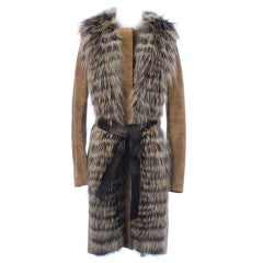 GUCCI SUEDE LEATHER COAT WITH HAND WOVEN FOX FUR