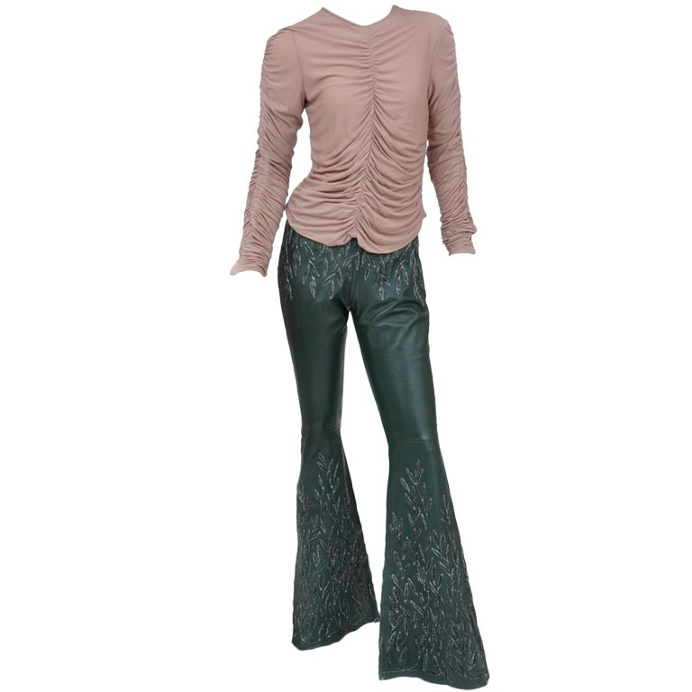 gucci pants. tom ford for gucci embroidered leather pants and silk ruched top 1