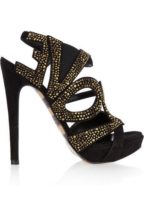 GEORGINA GOODMAN  Love crystal-embellished black suede sandals 2