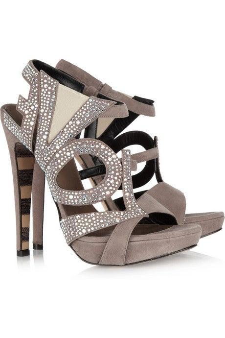 GEORGINA GOODMAN  Love crystal-embellished black suede sandals 6