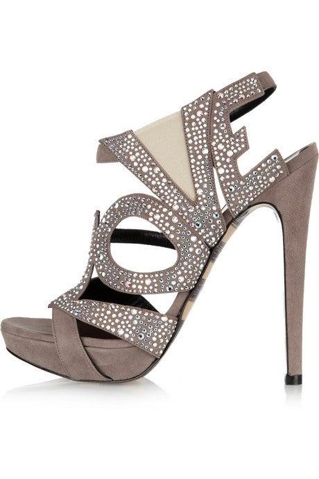 GEORGINA GOODMAN  Love crystal-embellished black suede sandals 7