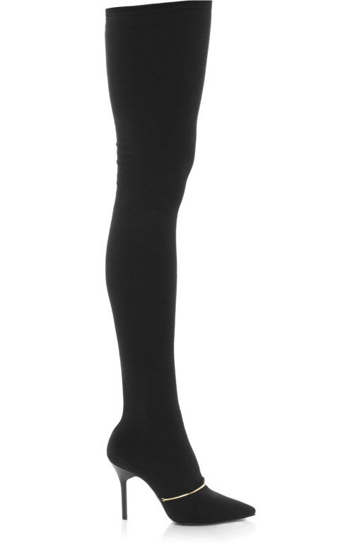 New GIVENCHY Black Stretch-jersey thigh boots 39 image 2
