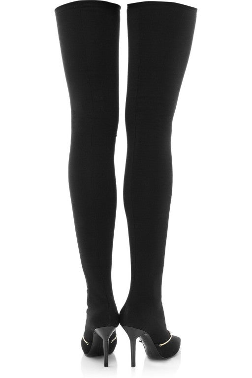 New GIVENCHY Black Stretch-jersey thigh boots 39 image 3