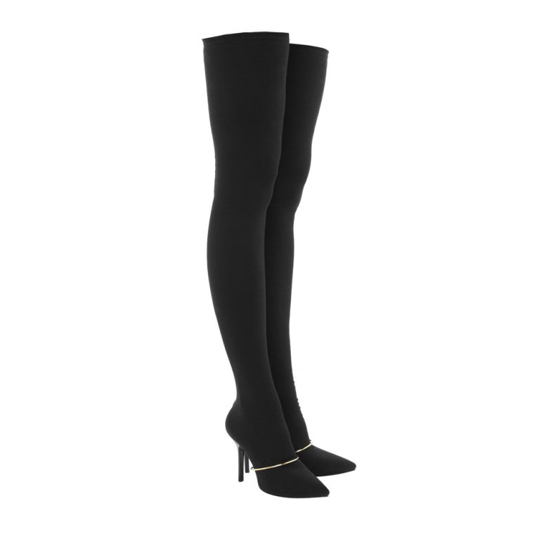 New GIVENCHY Black Stretch-jersey thigh boots 39