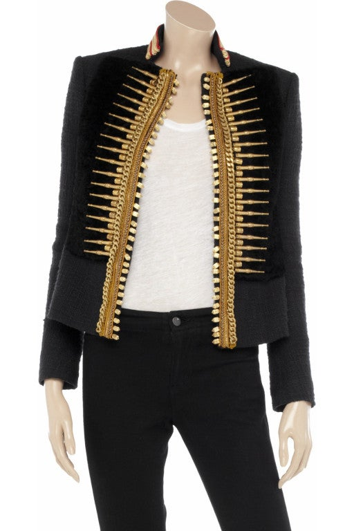 BALMAIN Embellished woven cotton and shearling fur jacket 2