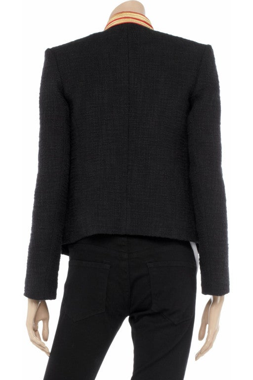 BALMAIN Embellished woven cotton and shearling fur jacket 3