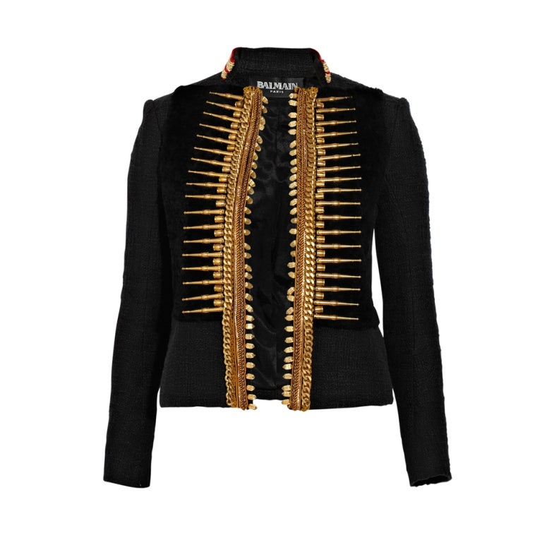BALMAIN Embellished woven cotton and shearling fur jacket 1