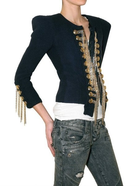 BALMAIN Blue Military Jacket w/Metallic Chain Detail CELEBS LOVE 10
