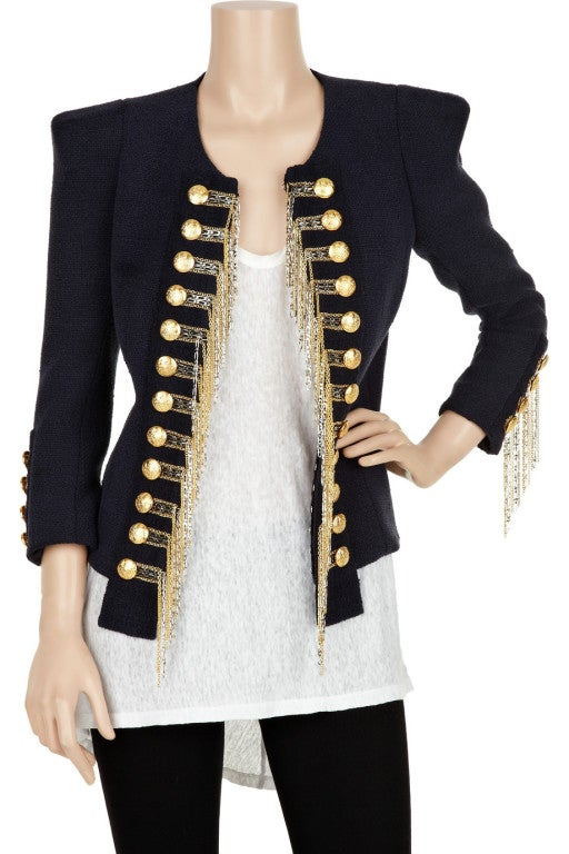 BALMAIN Blue Military Jacket w/Metallic Chain Detail CELEBS LOVE 2