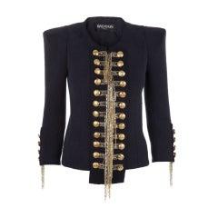 BALMAIN Blue Military Jacket w/Metallic Chain Detail CELEBS LOVE