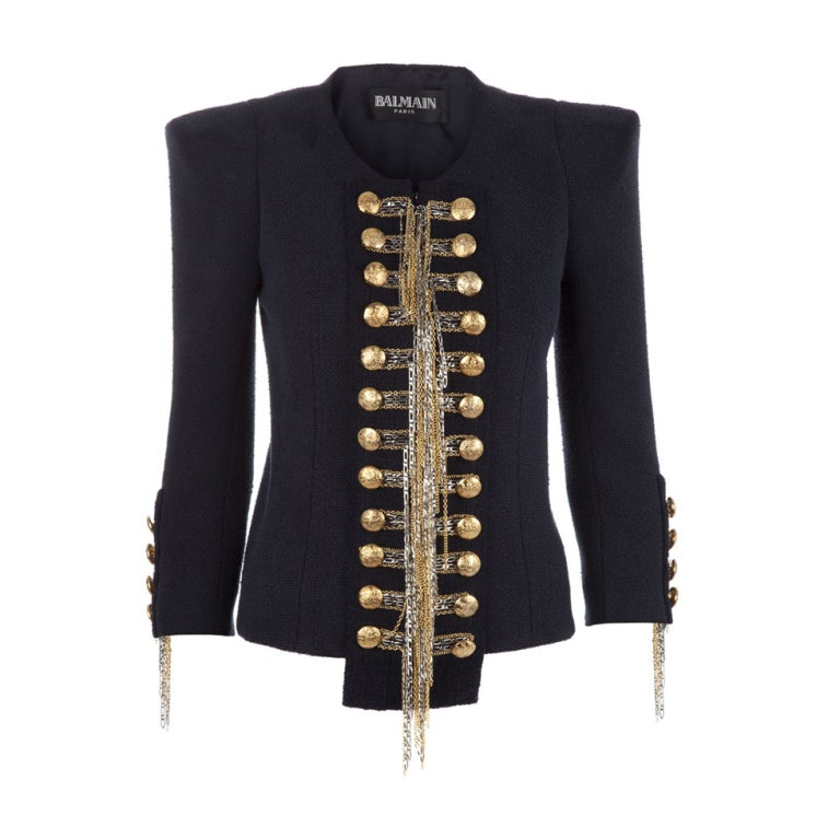 BALMAIN Blue Military Jacket w/Metallic Chain Detail CELEBS LOVE 1