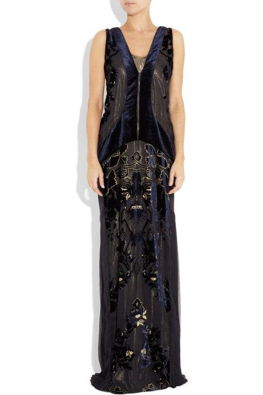 ROBERTO CAVALLI Blue Devoré-velvet Gown image 2