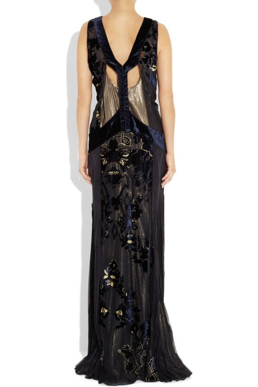 ROBERTO CAVALLI Blue Devoré-velvet Gown image 3