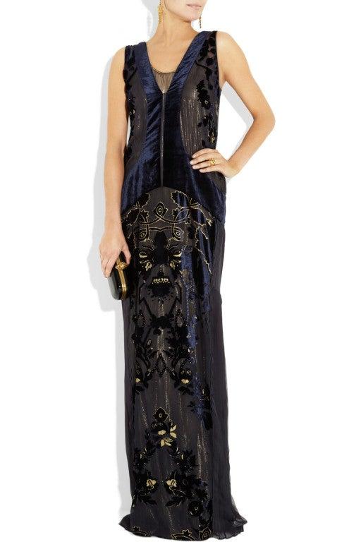 ROBERTO CAVALLI Blue Devoré-velvet Gown image 4