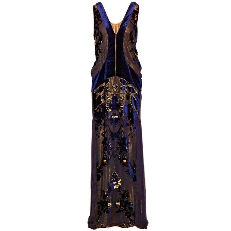 ROBERTO CAVALLI Blue Devoré-velvet Gown
