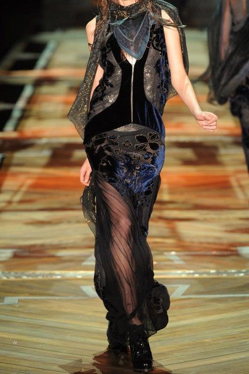 ROBERTO CAVALLI Blue Devoré-velvet Gown image 6