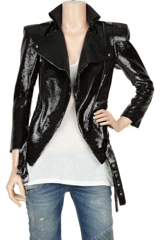 New BALMAIN Black Sequin Biker Jacket image 2