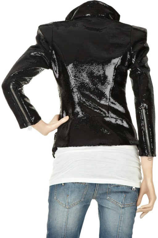 New BALMAIN Black Sequin Biker Jacket image 3