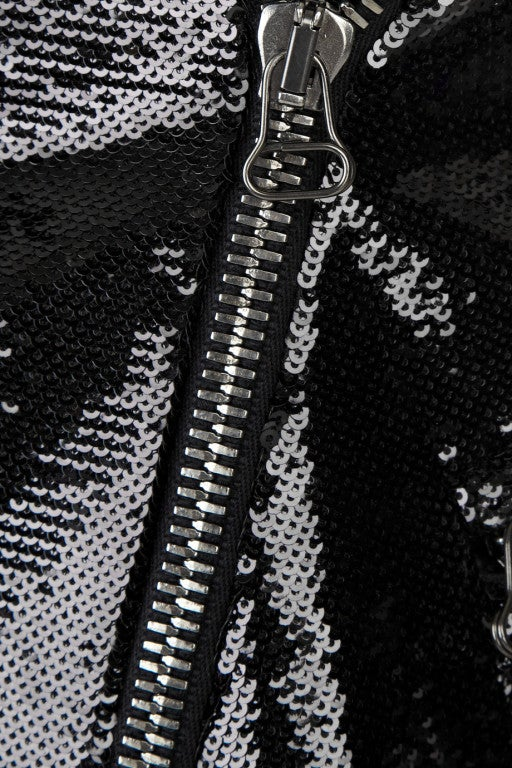 New BALMAIN Black Sequin Biker Jacket image 5