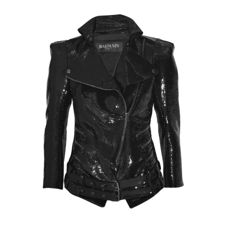 New BALMAIN Black Sequin Biker Jacket