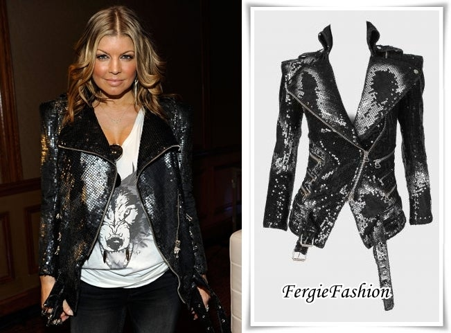 New BALMAIN Black Sequin Biker Jacket image 6