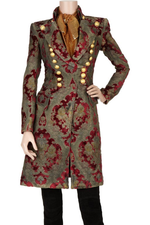 $19,765 New BALMAIN Brocade military coat 36 - 4 image 2