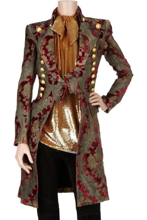 $19,765 New BALMAIN Brocade military coat 36 - 4 4