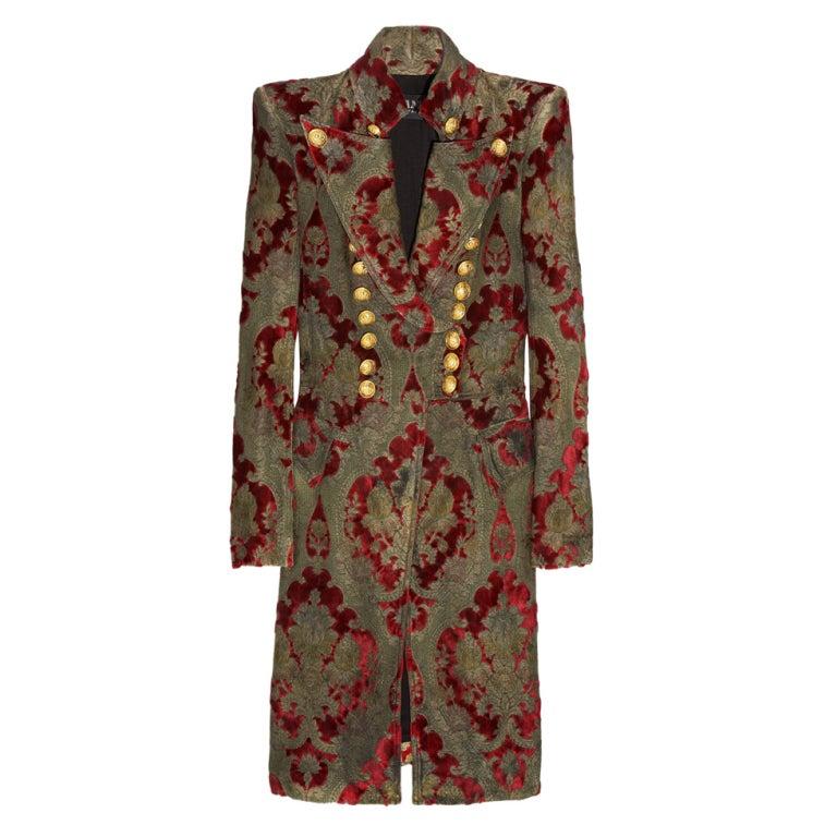 $19,765 New BALMAIN Brocade military coat 36 - 4 1
