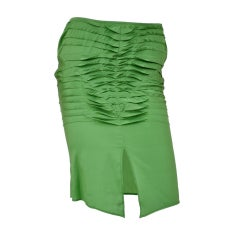 S/S 2004 Tom Ford for Gucci Green Silk Pleaded Skirt 42 - 6 New with tags!