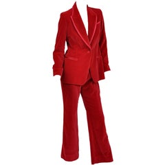 A/W 1996 Vintage Tom Ford for Gucci Iconic Red Velvet Tuxedo Suit