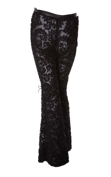 EXTREMELY RARE GUCCI TOM FORD BLACK LACE and LEATHER PANTS image 2