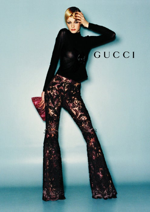 EXTREMELY RARE GUCCI TOM FORD BLACK LACE and LEATHER PANTS image 4