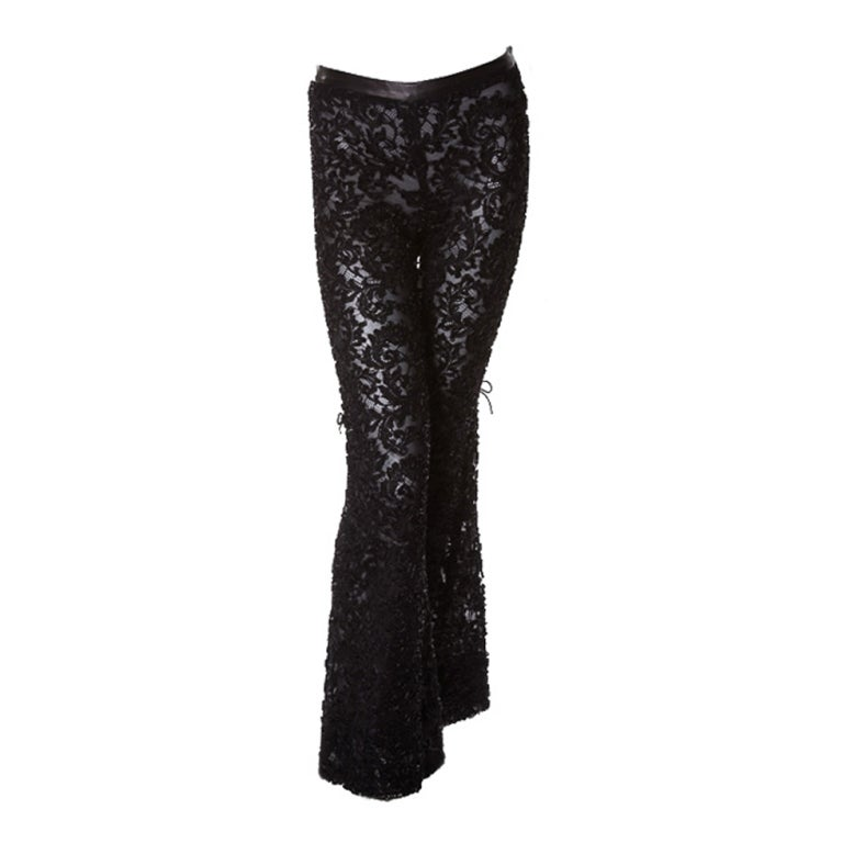 a56a4bd4023a EXTREMELY RARE TOM FORD for GUCCI BLACK LACE and LEATHER PANTS For Sale