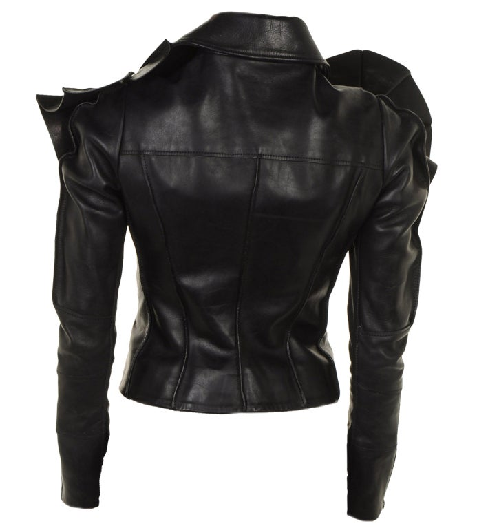 VIKTOR & ROLF BLACK LEATHER SCULPTURAL ARMOR JACKET GAGA LOVES! image 2