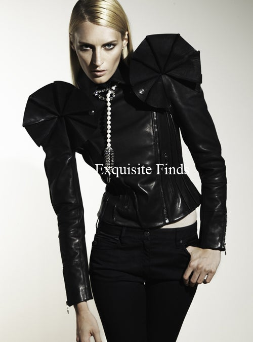 VIKTOR & ROLF BLACK LEATHER SCULPTURAL ARMOR JACKET GAGA LOVES! image 3
