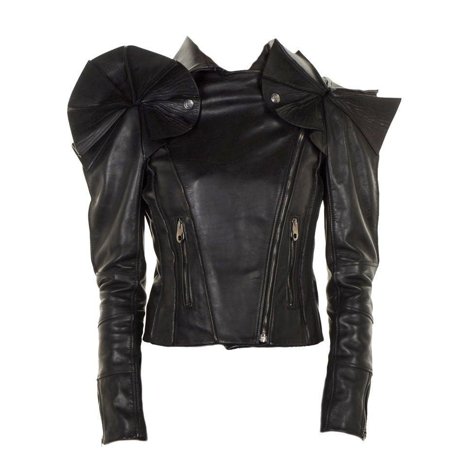 VIKTOR & ROLF BLACK LEATHER SCULPTURAL ARMOR JACKET GAGA LOVES!