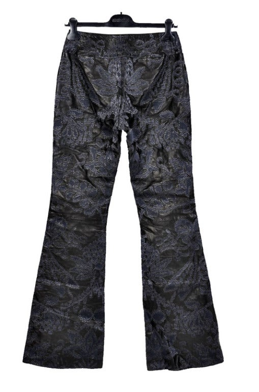 GUCCI EMBROIDERED LEATHER PANTS      Created by TOM FORD   Collection: S/S 2000  Simply the best leather pants ever.  IT Size: 44  Measurements:  Total Length: 46 inches  Waist: 28 inches  Inseam: 36 inches  Rise: 9 inches  Fabrication: Genuine
