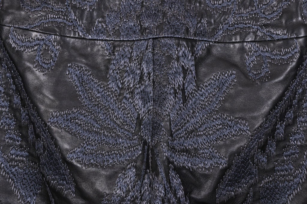 Black VINTAGE S/S 2000 TOM FORD for GUCCI EMBROIDERED LEATHER PANTS for MEN For Sale
