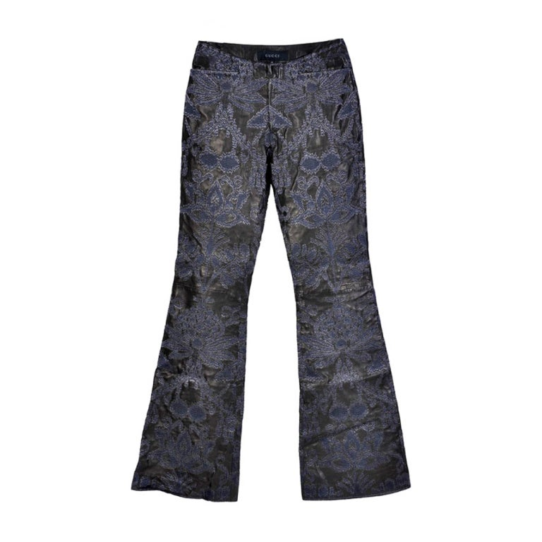GUCCI by TOM FORD EMBROIDERED LEATHER MENS PANTS from the AD CAMPAGN