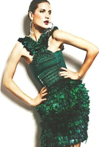 New GUCCI GREEN FEATHER DRESS 6